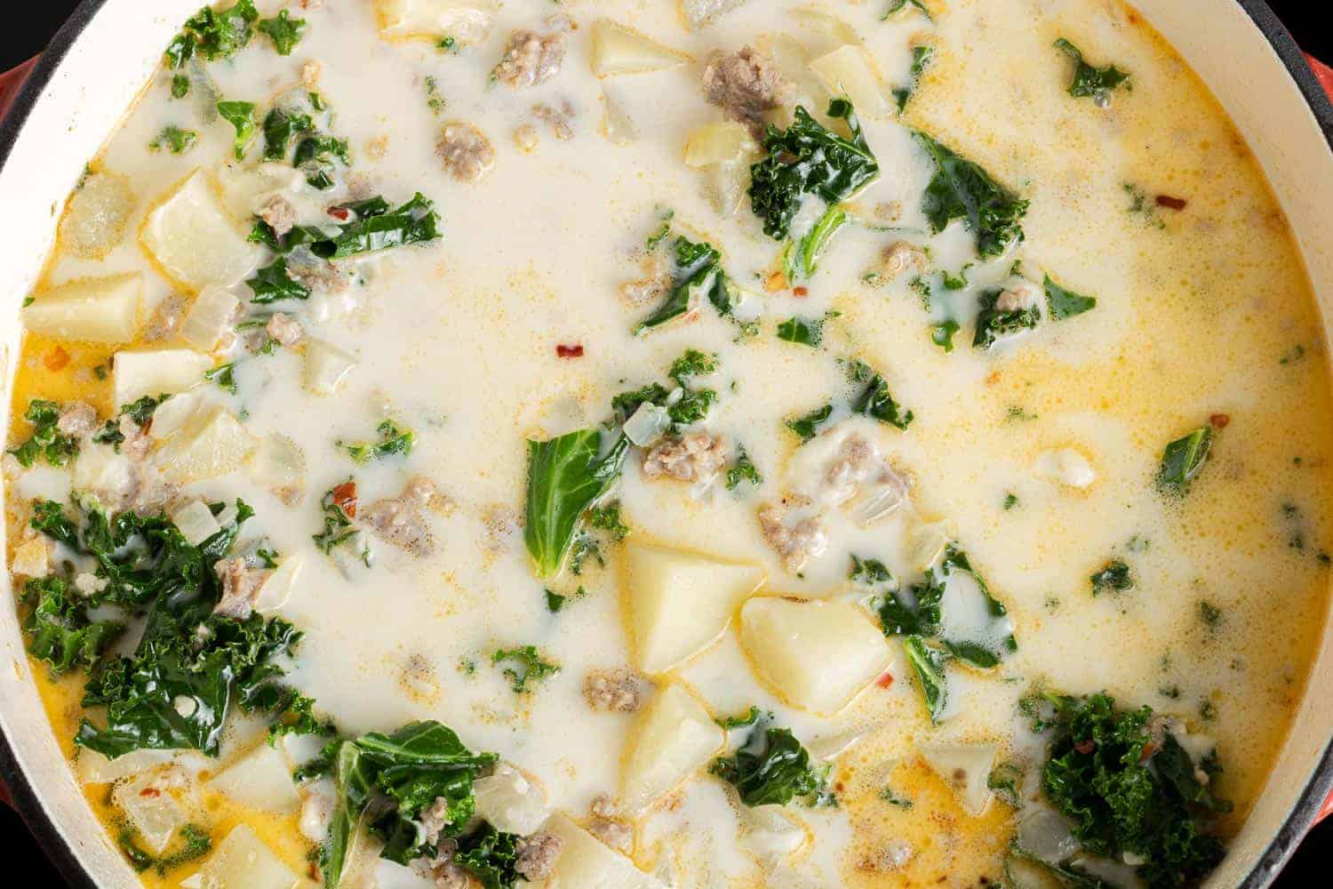 Creamy soup with kale, potatoes, and sausage.