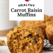 """Muffins, text overlay reads """"healthy carrot raisin muffins."""""""
