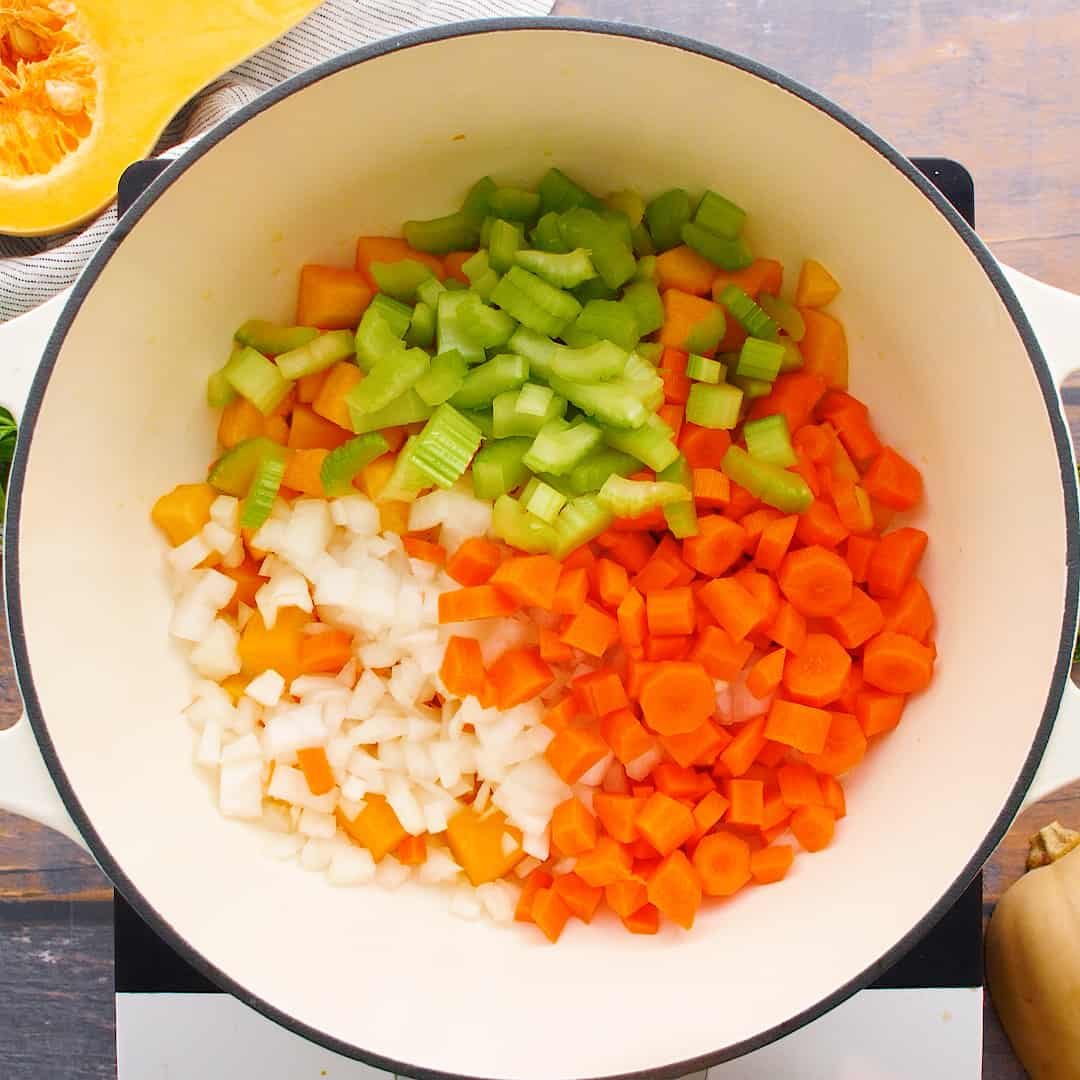 Vegetables in a dutch oven.