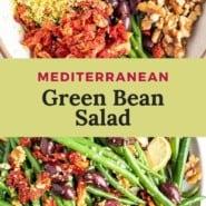 """Green beans, text overlay reads """"mediterranean green bean salad."""""""