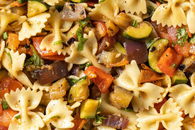 Close up of ratatouille pasta salad.