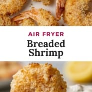 "Breaded shrimp being dipped in tartar sauce, text overlay reads ""air fryer breaded shrimp."""