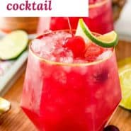 """Bright red drink, text overlay reads """"bay breeze cocktail."""""""