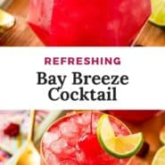 """Bright red drink, text overlay reads """"refreshing bay breeze cocktail."""""""