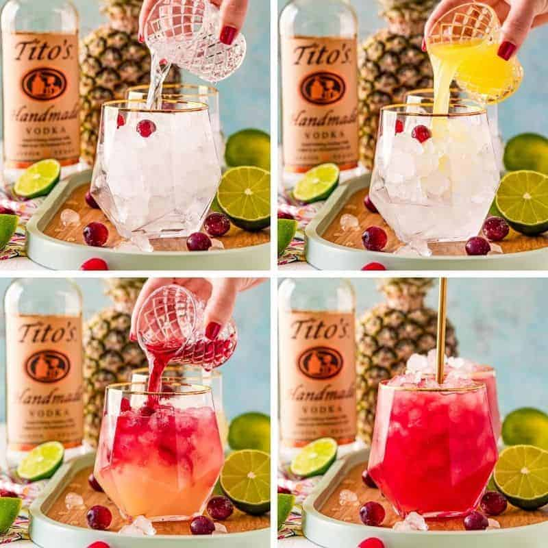 Four photos showing ingredients of a bay breeze cocktail being poured into a glass.