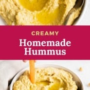 """two images of hummus, text overlay reads """"creamy homemade hummus."""""""