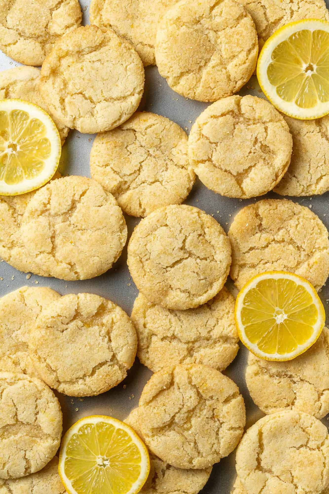 Overhead view of cookies and lemon slices.