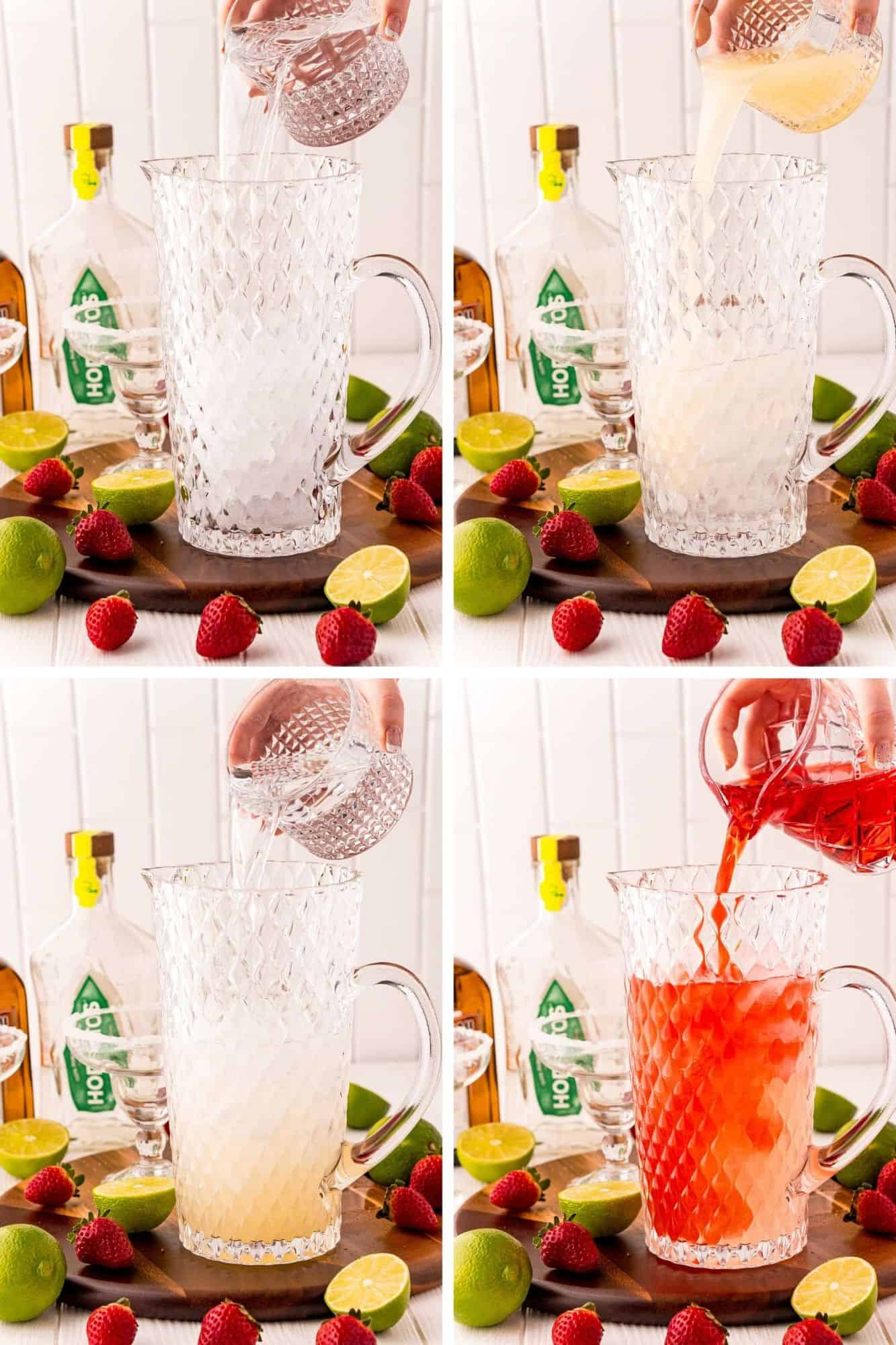Four images of various liquids being poured into a large clear glass pitcher.