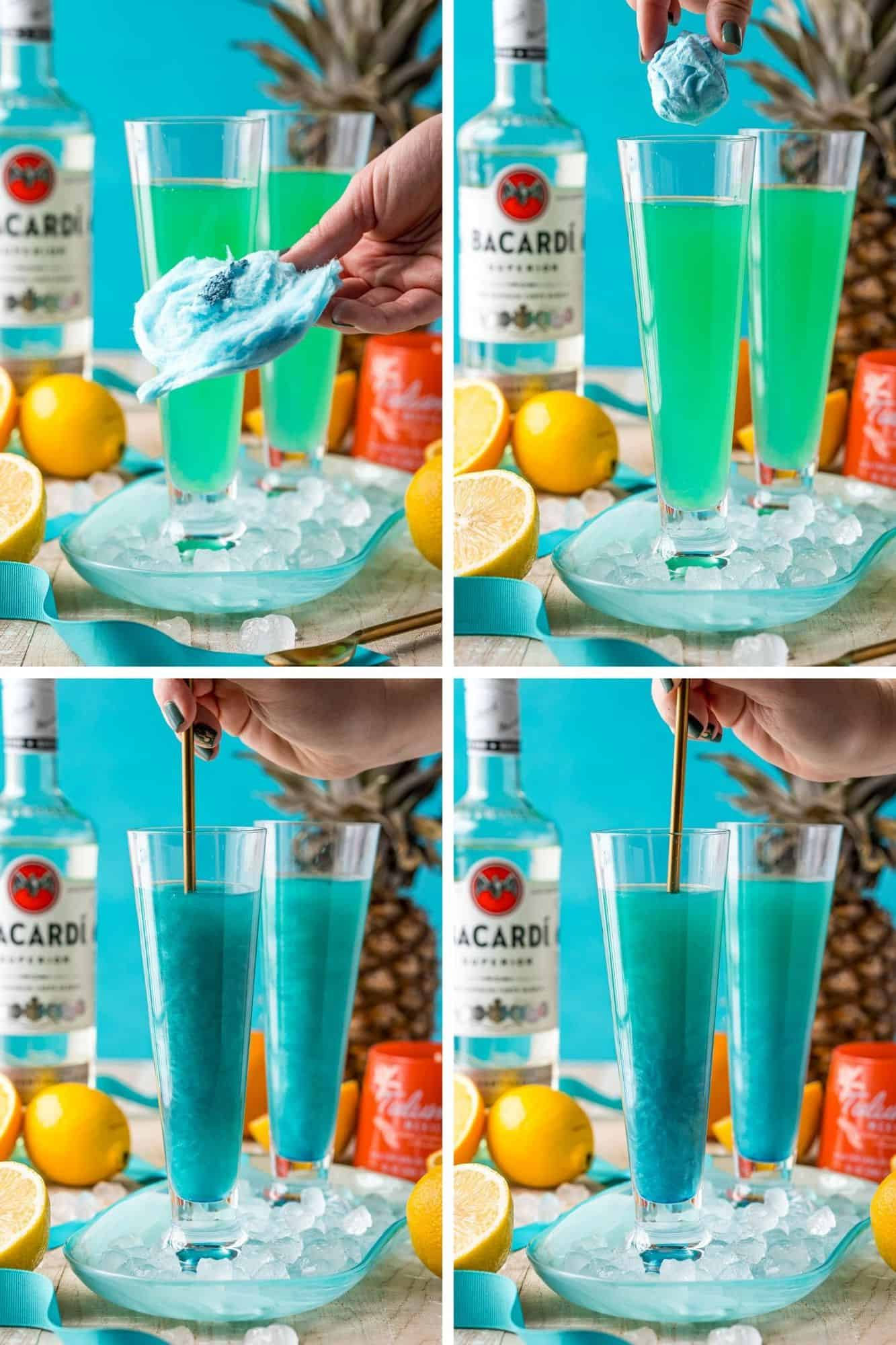 Four images showing how to add luster dust and cotton candy to a cocktail.