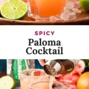 """Iced cocktail, text overlay reads """"spicy paloma cocktail."""""""