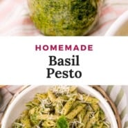 """Jar filled with green sauce, text overlay reads """"homemade basil pesto."""""""