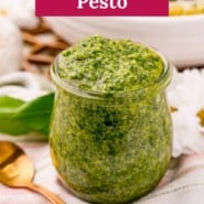 """Jar filled with green sauce, text overlay reads """"easy homemade pesto."""""""