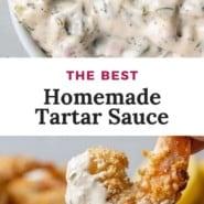 """Overhead view of tartar sauce, text overlay reads """"the best tartar sauce."""""""