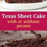 """Chocolate cake on a white plate, text overlay reads """"texas sheet cake, with or without pecans."""""""