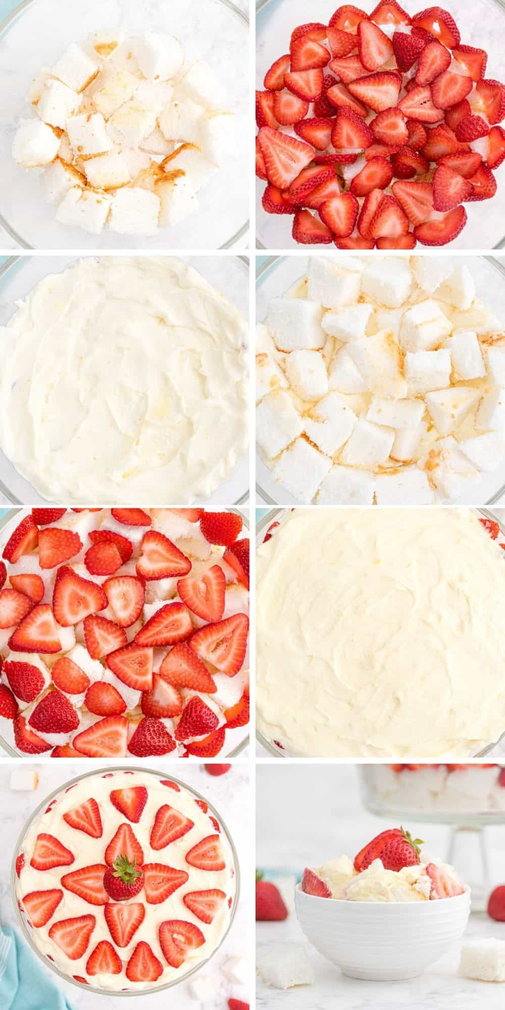 8 photo collage showing steps to layering a trifle.