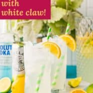"""Tall glass of iced beverage, text overlay reads """"vodka lemonade with white claw."""""""