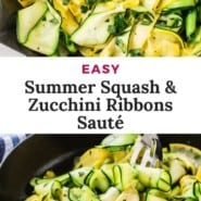 """Zucchini and squash, text overlay reads """"easy summer squash and zucchini ribbons saute."""""""