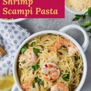 "Overhead view of shrimp pasta, text overlay reads ""instant pot shrimp scampi pasta."""