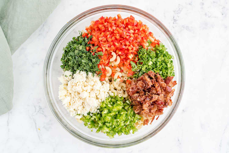 Colorful pasta salad ingredients.