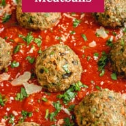 "Meatballs and sauce, text overlay reads ""eggplant meatballs."""