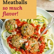 """Meatballs and sauce, text overlay reads """"eggplant meatballs - so much flavor!"""""""