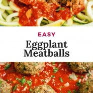"""Meatballs and sauce, text overlay reads """"easy eggplant meatballs."""""""