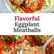"""Meatballs and sauce, text overlay reads """"flavorful eggplant meatballs."""""""