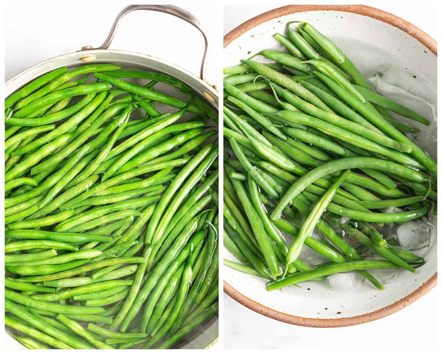 Side-by-side images showing green beans in water and then in an ice bath.