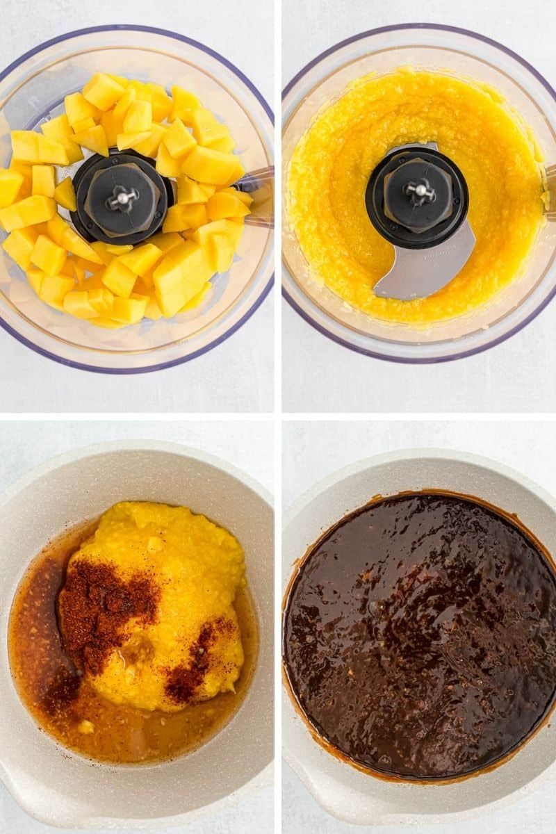 Four images showing how to make mango barbecue sauce.