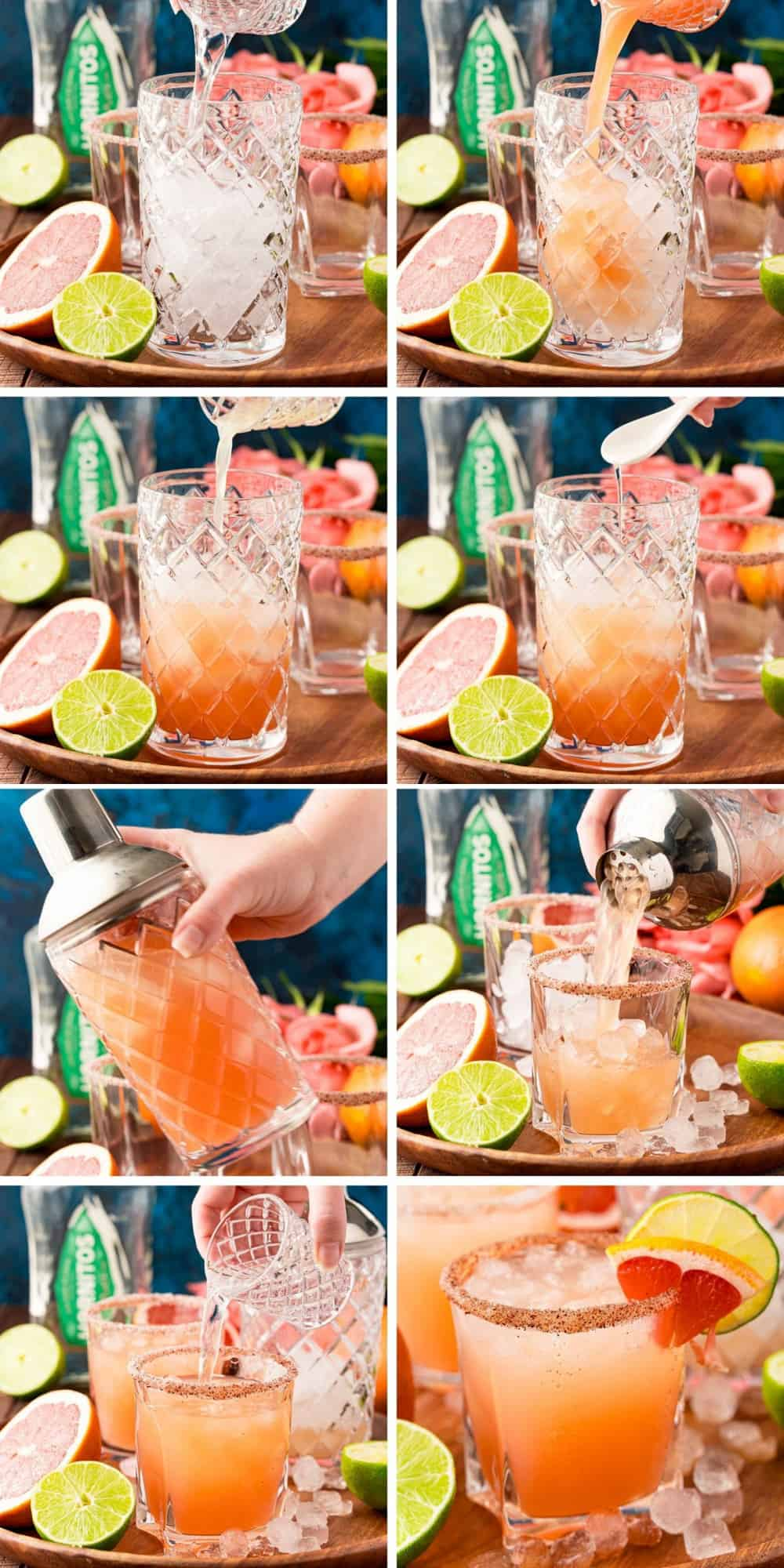 8 images of steps of making a paloma cocktail.