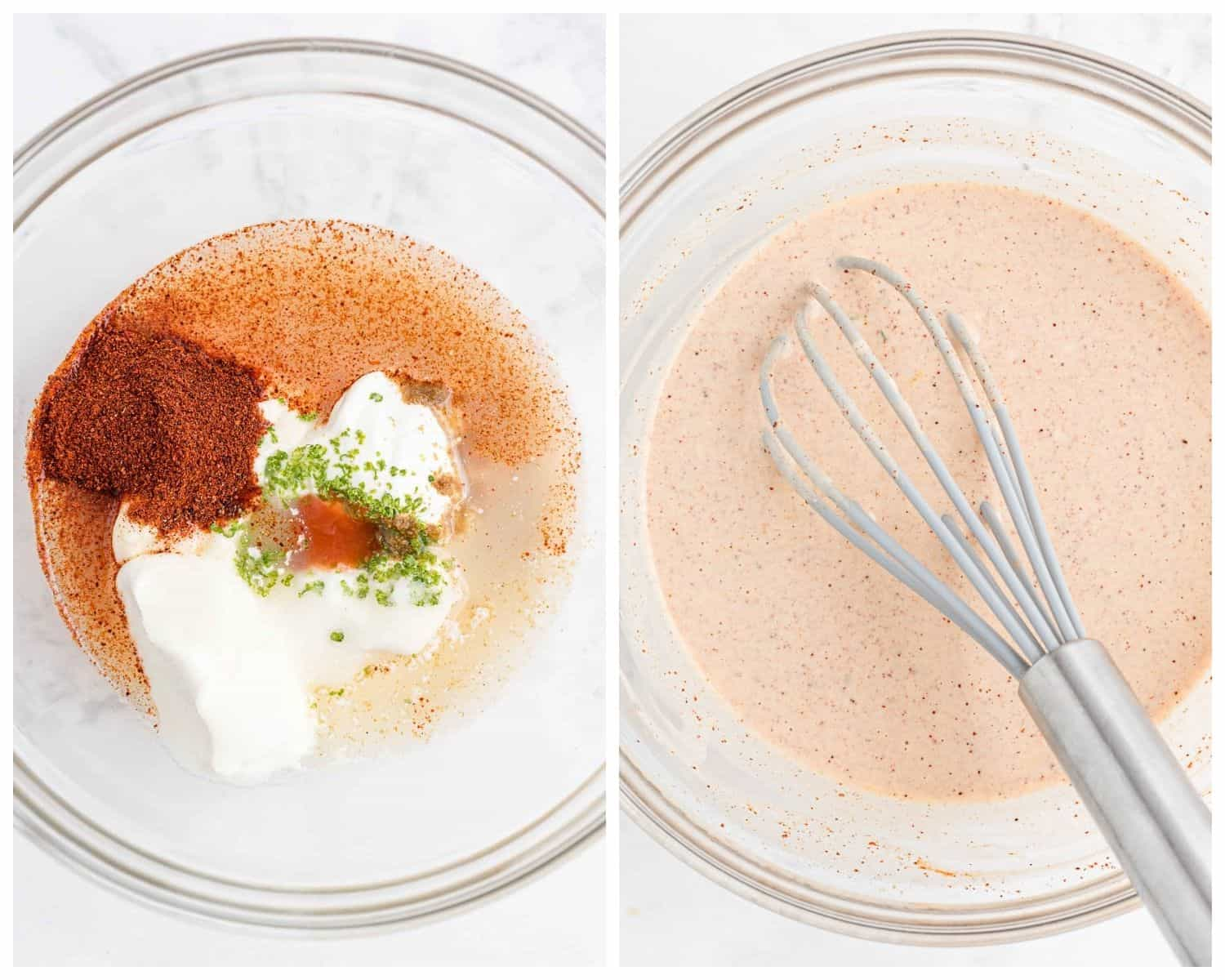 Salad dressing before and after being mxied.