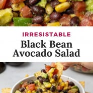 "Salad, text overlay reads ""irresistible avocado black bean salad."""