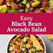 "Salad, text overlay reads ""easy avocado black bean salad."""