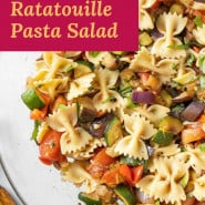 """Pasta salad with a text overlay that reads """"grilled ratatouille pasta salad."""""""