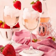 """Drink in stemmed glass, text overlay reads """"the best rosé spritzer."""""""