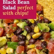 """Salad, text overlay reads """"avocado black bean salad, perfect with chips!"""""""