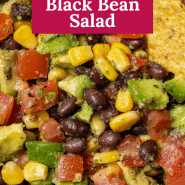 "Salad, text overlay reads ""the best avocado black bean salad."""