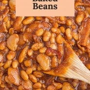 """close up of beans, text overlay reads """"the best baked beans."""""""