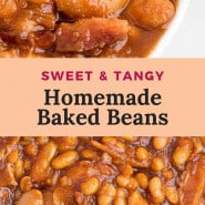 """Beans in a bowl, text overlay reads """"the best baked beans."""""""