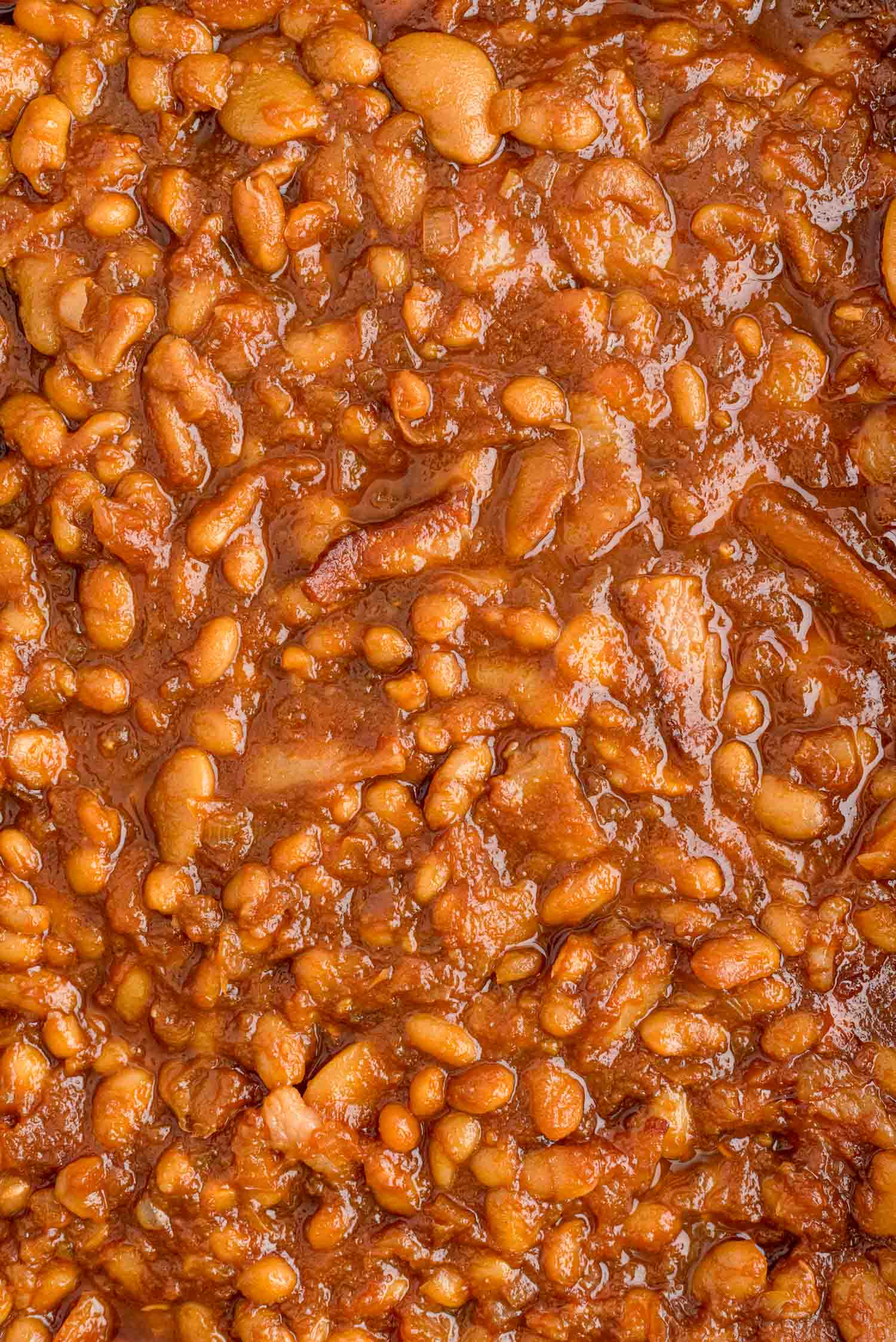 Overhead view of baked beans filling image.