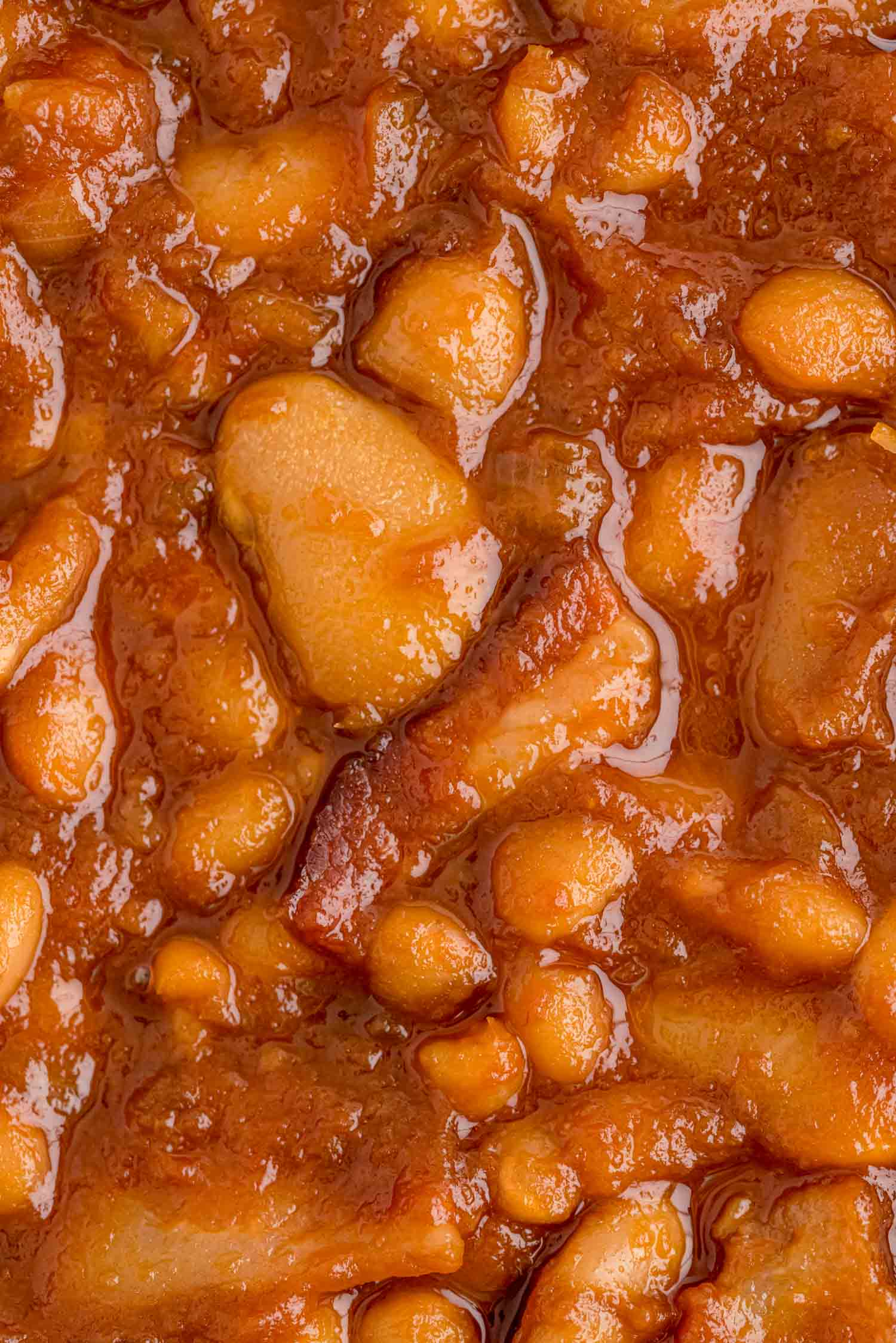 Very close up view of baked great northern and butter beans.