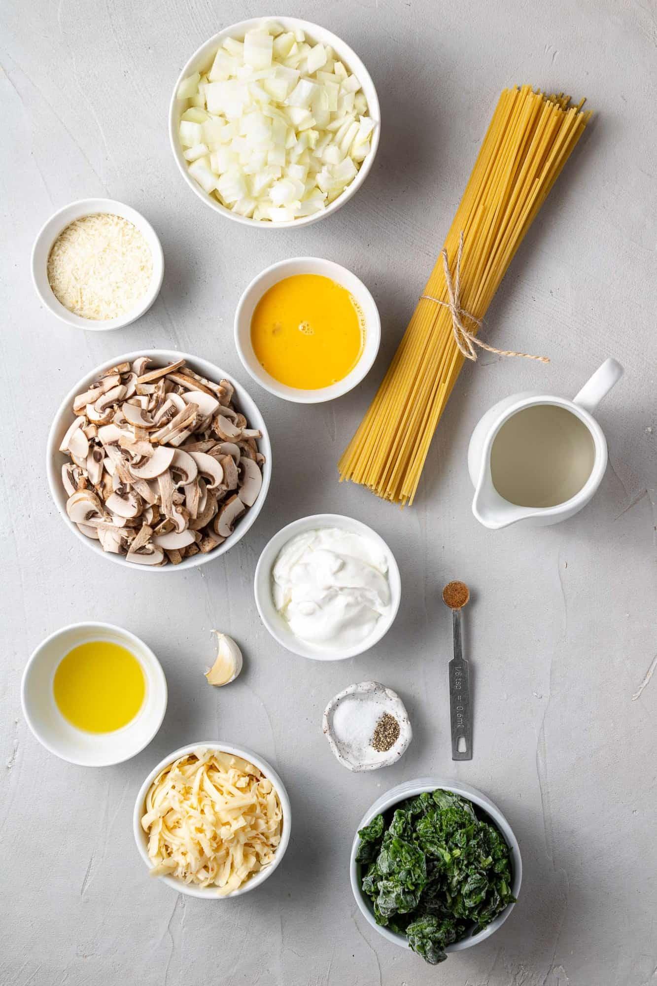 Overhead view of ingredients needed for recipe.
