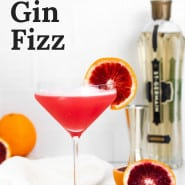 """Bright red cocktail, text overlay reads """"blood orange gin fizz."""""""