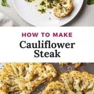 "Cauliflower on a sheet pan, text overlay reads ""how to make cauliflower steak."""