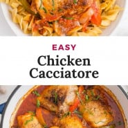 """Chicken with tomato sauce, text overlay reads """"easy chicken cacciatore."""""""