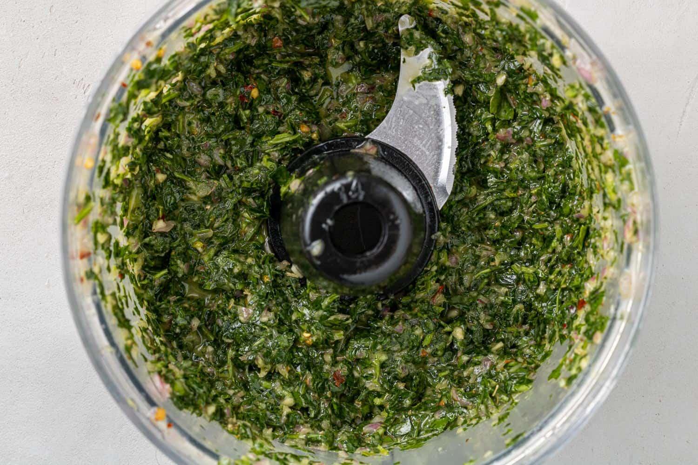 Chimichurri in a food processor.