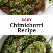 """Green sauce, text overlay reads """"easy chimichurri recipe/"""""""