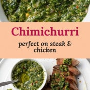 """Green sauce, text overlay reads """"chimichurri, perfect on steak and chicken"""""""