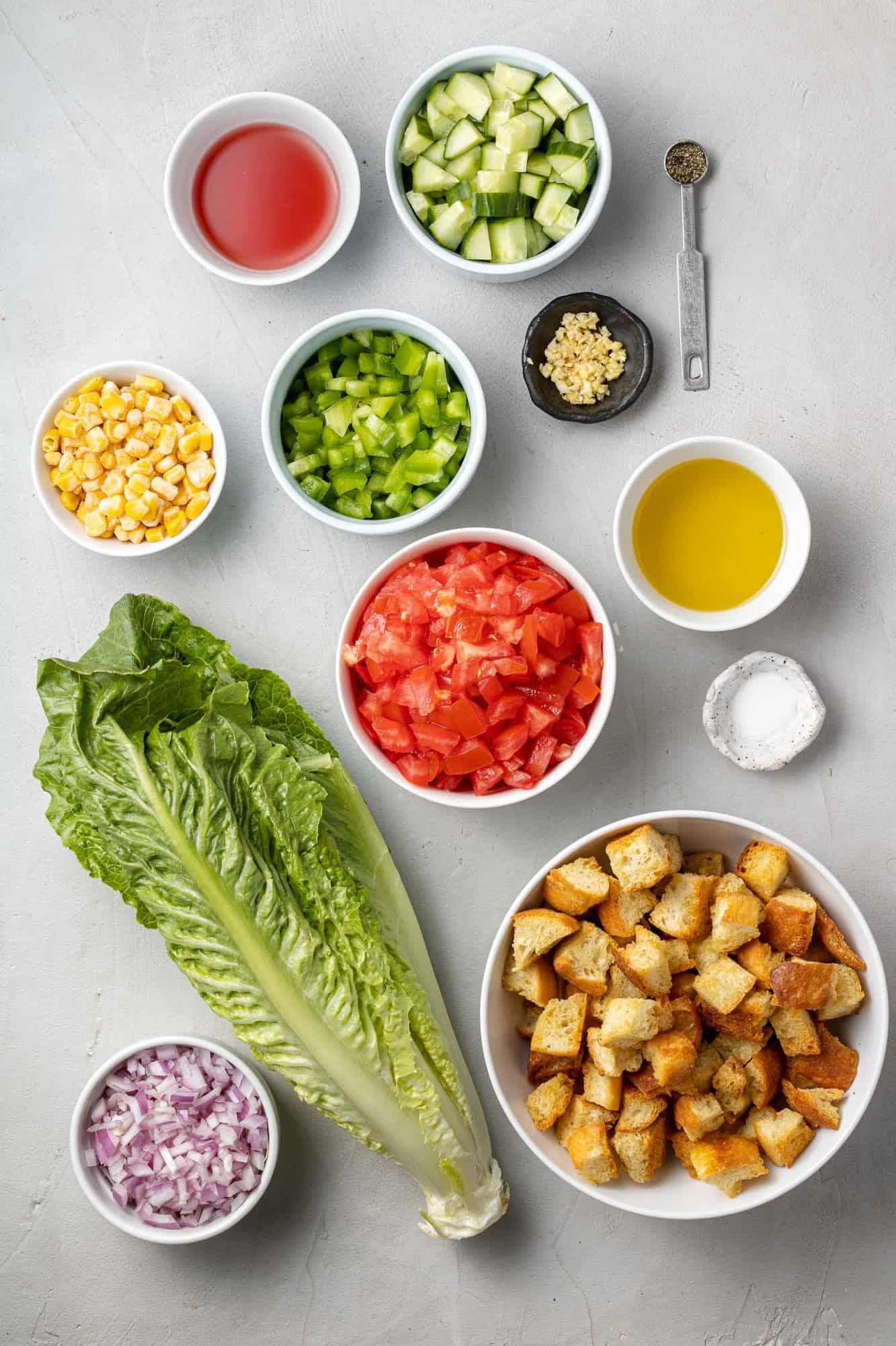 Overhead view of ingredients needed for salad recipe.