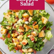 """Chopped salad with a text overlay that reads """"gazpacho chopped salad."""""""
